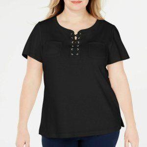 Karen Scott Plus Size Cotton Lace-Up Top